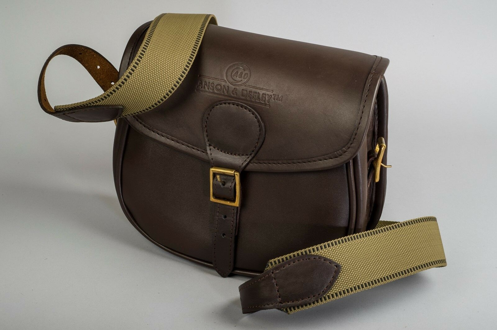 """Anson & Deeley®"" 100% Real Chestnut Brown Leather ""Lichfield"" Cartridge Bag-An"