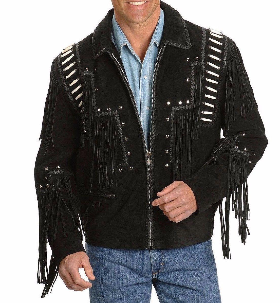 Da Uomo Uomo Uomo Nero Cowboy NATIVI AMERICANI GIACCA IN PELLE SCAMOSCIATA FRANGE WESTERN WEAR CAPPOTTO 028897