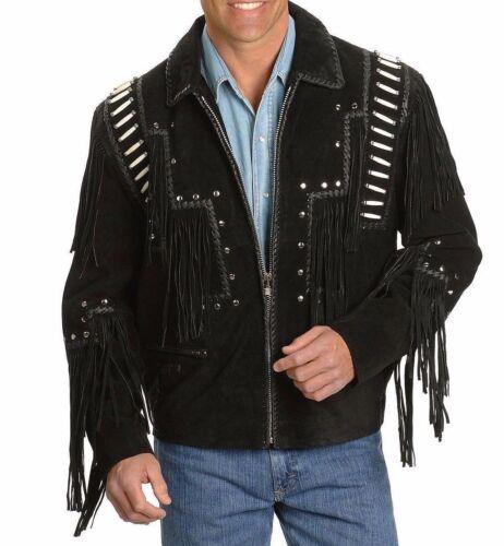 Cappotto occidentale della usura cuoio scamosciata di nativo cowboy nero frusta del pelle del rivestimento della americano del del f1rfEwnqFx