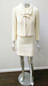 VINTAGE CREAM 2 PC TEXTURED DRESS Suit w/ CROPPED KITTEN BOWJACKET sz XS S