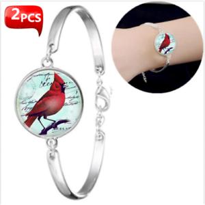 2PCS Cardinal Oiseau Rouge Verre Bracelets Accessoires Creative Unisexe Bijoux Cadeaux