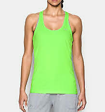 Under Armour Stripe Racer Tank Top Gym Vest Green Ladies Size S Small *REF71