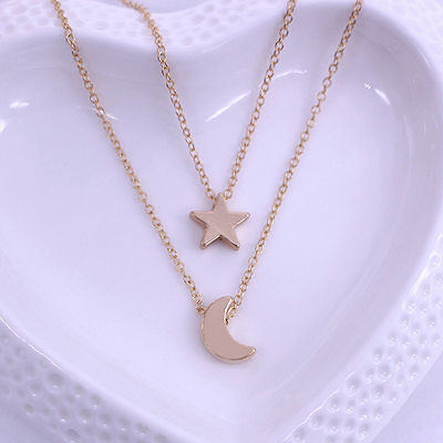 Women Girl Simple Style Star Moon Two Layered Chain Pendent Necklaces Gift