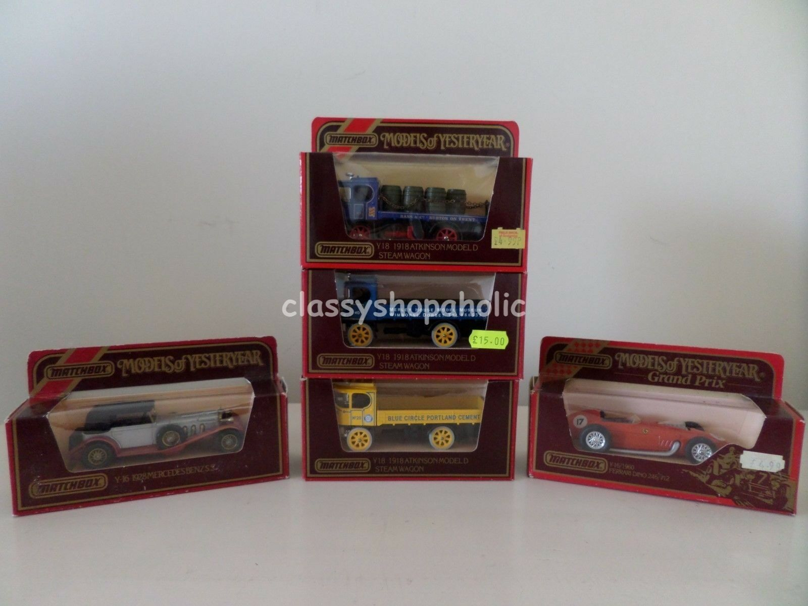 MATCHBOX Models OF YESTERYEAR-Y-16 MERCEDES & FERRARI Y18 Atkinson Carro a Vapore