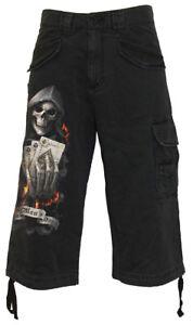 Spiral Direct ROCK ETERNAL 3//4 LONG VINTAGE CARGO BLACK SHORTS//Skull//Music//Metal
