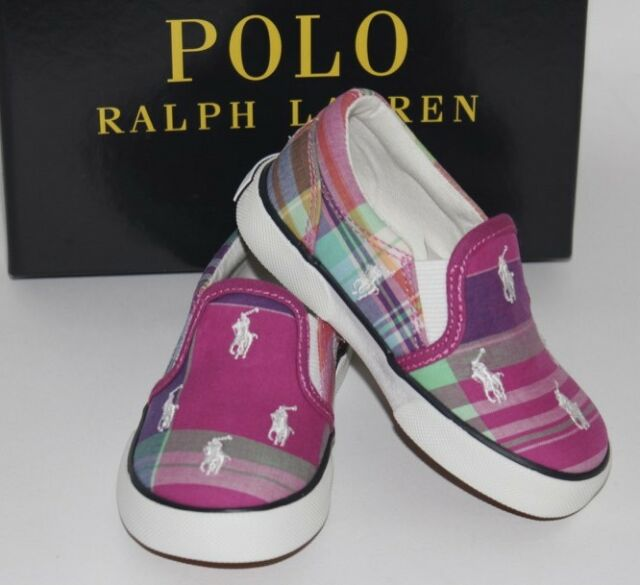 a8f12bb2c NIB RALPH LAUREN 4.5 Toddler Girl s Pink Plaid BAL HARBOUR Embroidered Pony  Shoe