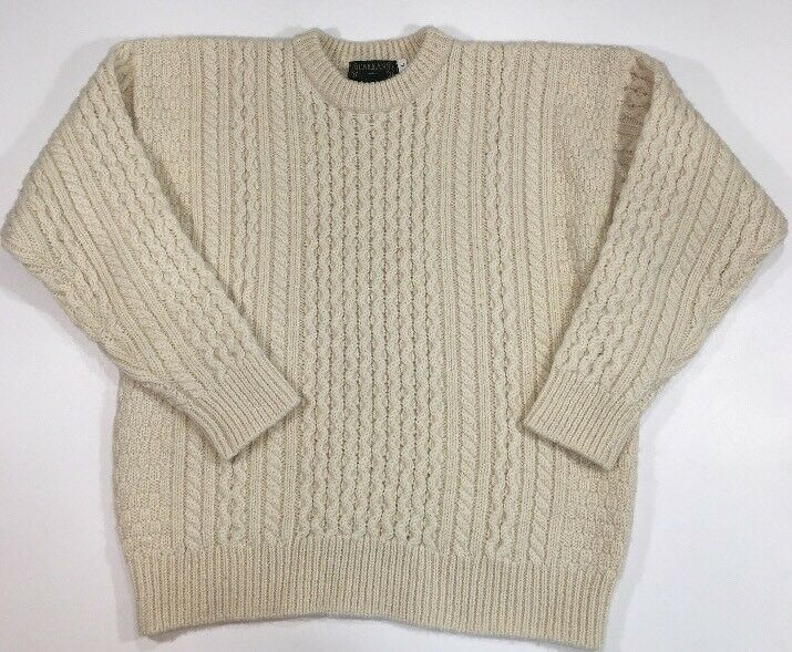 Callan Ireland Mens L 100% Pure Merino Wool Fishermen Cable Knit Sweater Cream