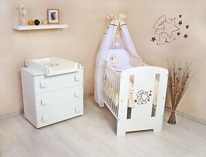 Teddybär Komplett Set Wickelkommode Babybett Babyzimmer voll ...