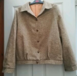 Ladies-100-Wool-Bomber-Type-Jacket-Vintage-St-Michael-Size-16-Leather-Trim