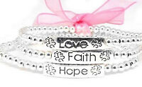 Faith, Hope, And Love Silver Bead Stretch Bracelet Set