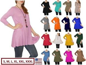 Women's Long Tunic Top Dress 3/4 Sleeve Shirt Blouse Dress S M L XL Plus 2X 3X