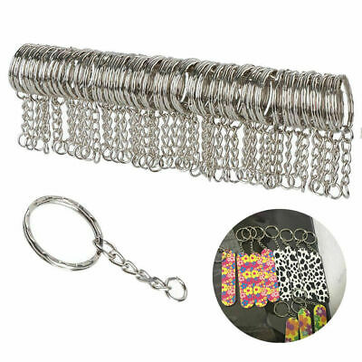 10pcs 25mm Polished Keyring Keychain Split Ring Short Chain Key Rings Silver Set