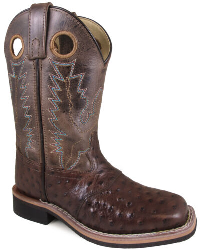 Smoky Mountain Kids Western Cowboy Boots Cheyenne Pull On Square Toe Dark Brown