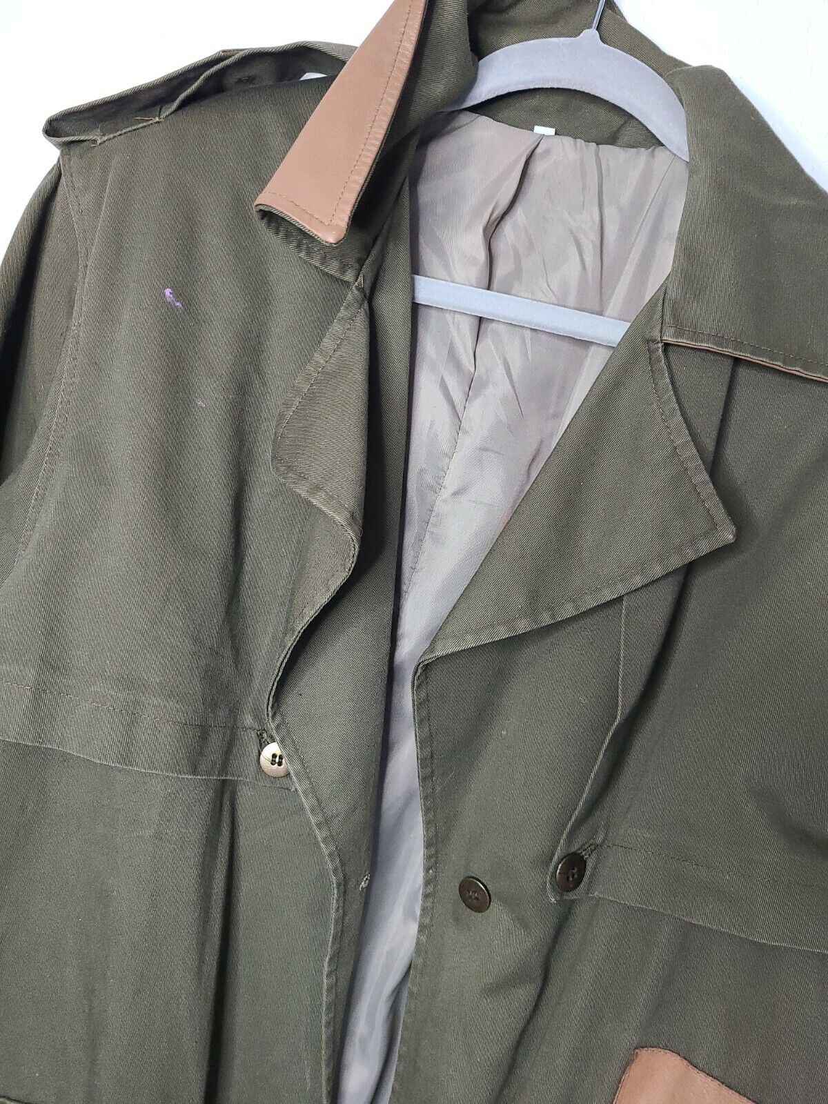 Classic Military Style Trench Coat, Olive Army Gr… - image 3