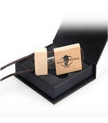ODM Custom Logo Maple Wood USB 2.0 Flash Drive Memory Stick + Rope Student Gift