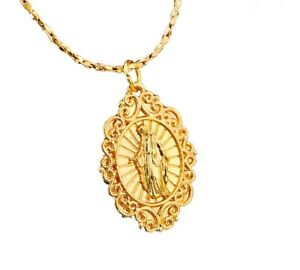 14k-Yellow-Gold-Women-039-s-Opulent-Virgin-Mary-Link-Chain-Necklace-D580B