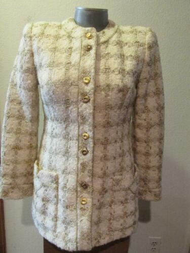 Vintage TRAVILLA Ivory & Gold Tunic Jacket 8 Beau… - image 1