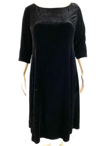Eileen Fisher Velvet Midi Shift Dress 1/2 Black Sl