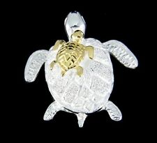 SILVER 925 HAWAIIAN HONU MOM YELLOW GOLD PLATED BABY TURTLE MOVABLE PENDANT
