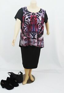 CITY CHIC Jungle Tiger Print Hi-Lo Silky Satin Evening Top | Plus Size: L (20)