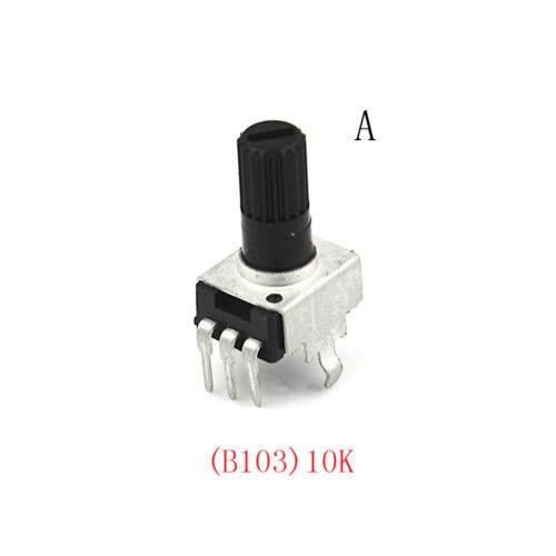 10pcs RV09 5-100K Potentiometer Adjustable Resistance 12.5mm Shaft 3Pins FEH TD