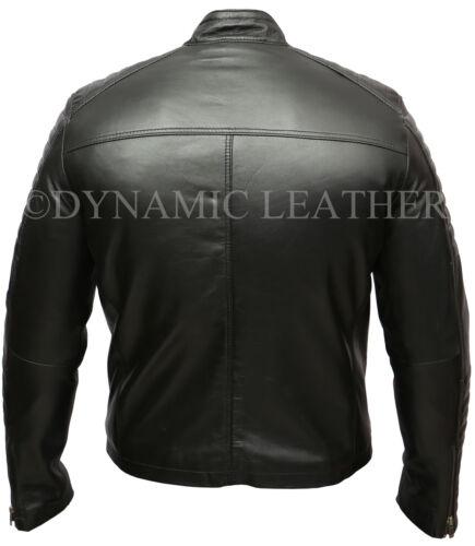 para de hombre Soft Black Racer Biker Real Diamond Chaqueta Classic cuero fE6qxdfw7