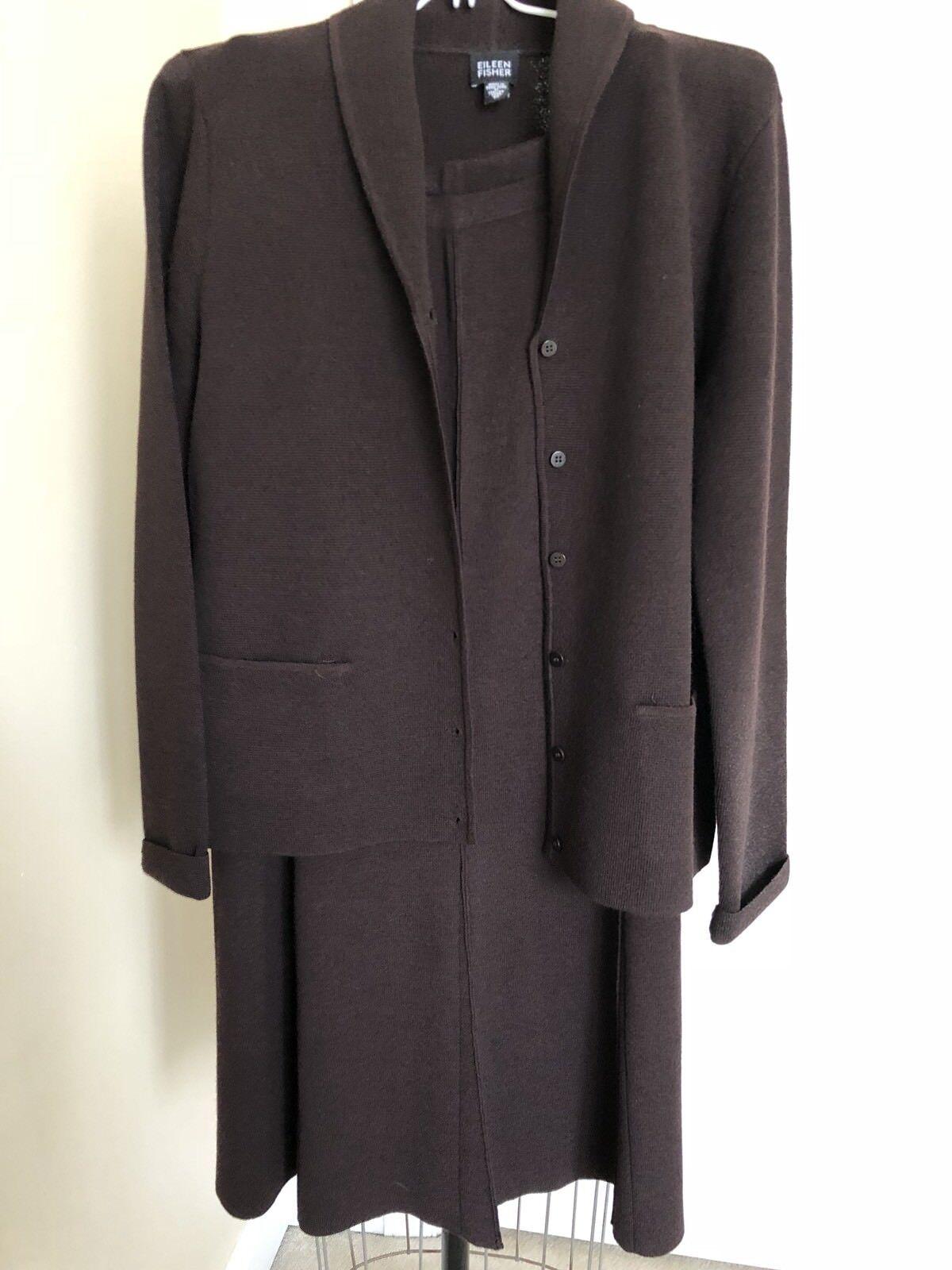 Eileen Fisher 2 Piece Brown Skirt And Blazer Set