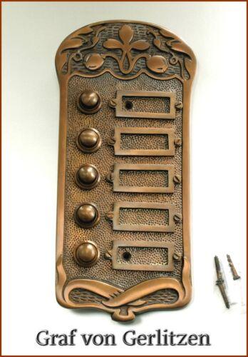 Tür Klingel 5 Messing Türklingel Klingelschild Klingelplatte Jugendstil K75A