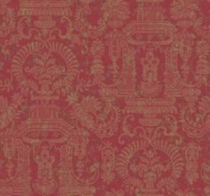 Wallpaper-Designer-Traditional-Style-Pagoda-Floral-Tan-Damask-on-Burgundy-Red