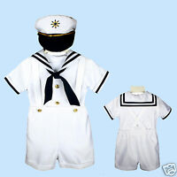 Sailor Shorts Suit For Infant, Toddler & Boy White Size: S,m,l,xl,2t,3t,4t