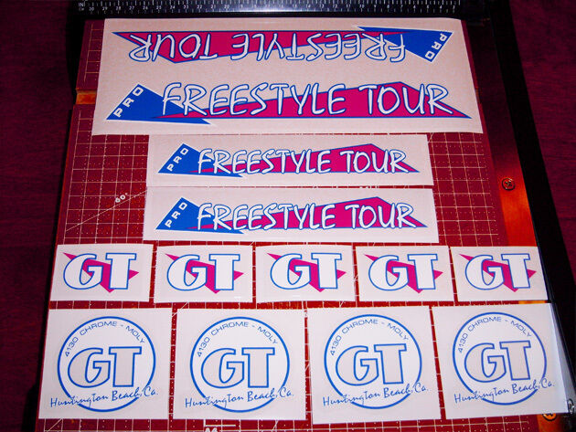 1986 GT BMX Pro Freestyle Tour, restoration decals on clear MAGENTA BOLD