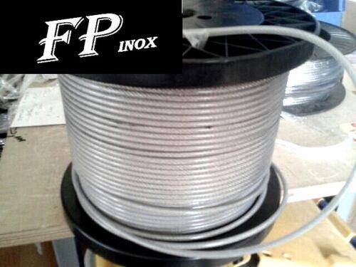 Cable inox Gainé PVC Transparent 2 x 3 mm inox VENDU AU Mètre