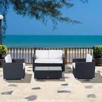 4-Pc Outsunny Wicker Sofa Set with Rattan Cushioned Seat