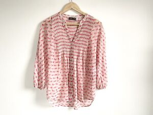 Mint-Velvet-Size-10-Ladies-Blouse-Pink-Horse-Button-Up-Relaxed-3-4-Sleeve