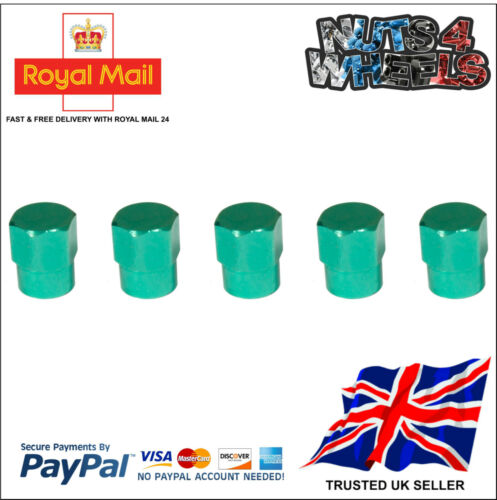 5 x GREEN Aluminium Alloy Tyre Valve Dust Caps 4 1 Car Bike Bicycle Van