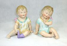XXXL zwei große Puppen Kinder Figuren Biskuitporzellan Thüringen um 1900 selten