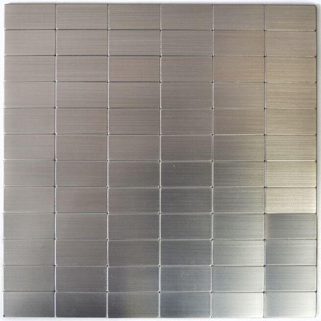 Mosaïque carreau auto-adhésif rectangle aluminium Silber 200-22M50_f  10 plaques