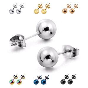 Damen-Herren-Edelstahl-3-8mm-Kugel-Ball-Ohrstecker-Stecker-Ohrring-6-Farben
