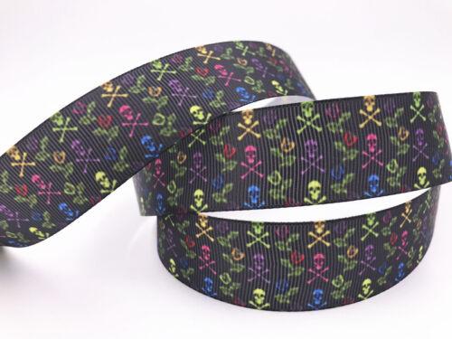 DIY 1-10 Yard 1/'/' 25MM Skull head Printed  Grosgrain  Ribbon Hair Bow Crafts