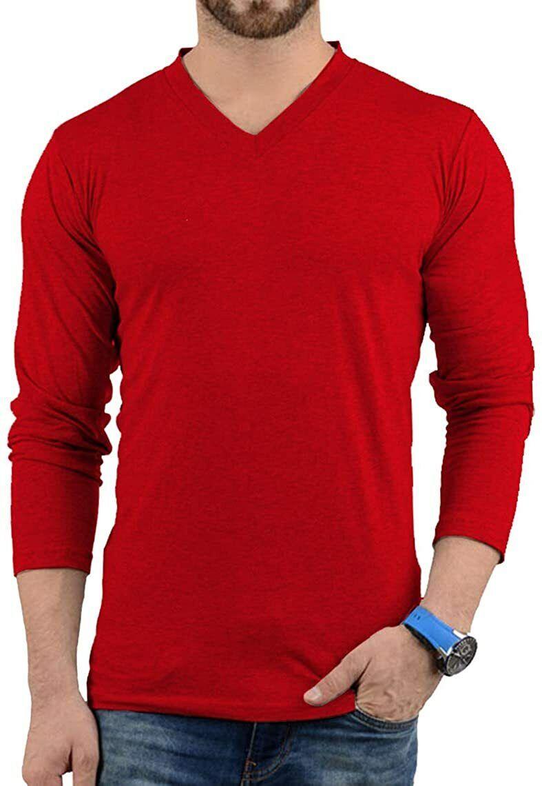 Plain Long Sleeve Shirt Men - Grey & Black Soft Cotton V Neck Full Sleeves...