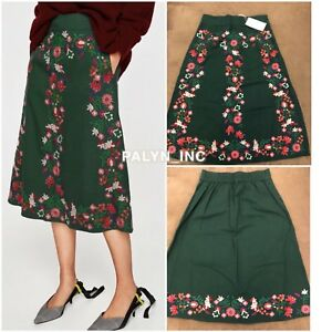 cc318c5806 Rare_NWT ZARA GREEN MIDI SKIRT WITH FLORAL EMBROIDERY 0881/251_S M ...