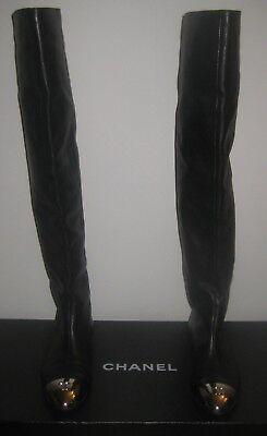 Chanel Black Calfskin Over The Knee