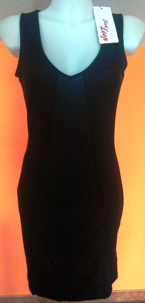 Kleidung Mode Frau Kleid élégant Farbe Schwarz l Angebot Angebot neu