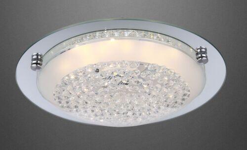 LED Luxus Wohnzimmer Decken Lampe Kristall klar Flur Bad Leuchte chrom