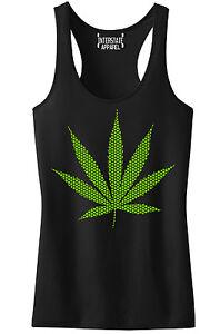 Juniors Neon Polka Dot Weed Leaf Black Racerback Tank Top Marijuana
