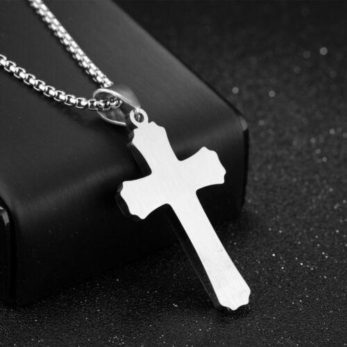 Edelstahl Halskette Silber Kreuz Anhänger Retro Schmuck 55cm Kette Herren Männer