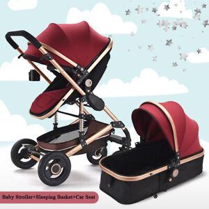 Baby-Pram-nouveau-ne-Buggy-3-en-1-siege-auto-nacelle-Combi-Systeme-de-Voyage-Poussette