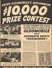 1938 Oldsmobile Olds $10,000 Prize Contest Car Vintage Print Ad