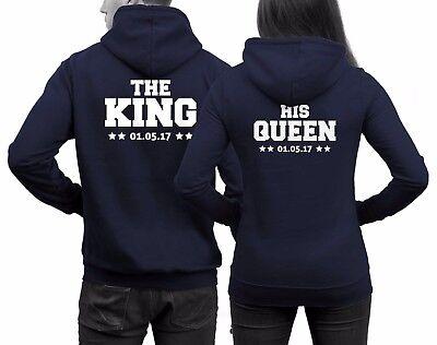 Hoodies The King His Queen Pärchen Pullover WUNSCHDATUM Druck Paare 01 Navy NEU | eBay