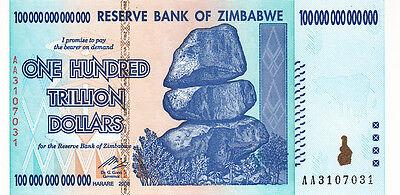 8657 Zimbabwe 100 Trillion 100000000000000 Dollars 2008 Seria AA UNC